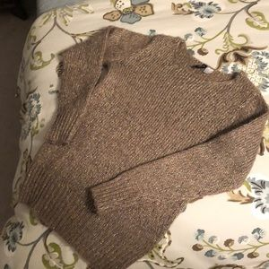 Divided H & M Brown Sweater with Gold Threads